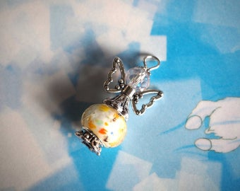 Angel 33x19mm, silver and white hand made lampwork glass and metal charm pendant