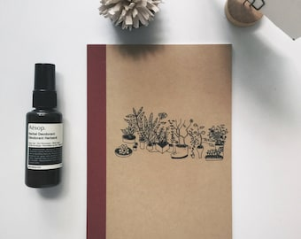 houseplants illustrated muji a5 lined notebook