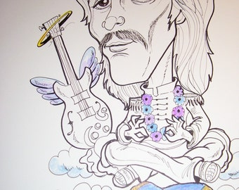 George Harrison Rock Portrait Rock and Roll Caricature Music Art by Leslie Mehl
