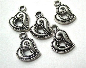 Antique Silver Charms, 15mm x 12mm, Open Hearts, Small Pendants, Earring Dangles, Bracelet Components, Asymmetric Hearts - 5 Pieces  SP760