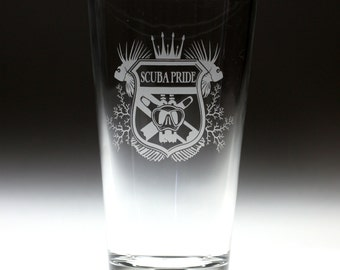 Personalized Scuba Pride Etched Sandblasted Pint Glass, scuba gift, christmas gift,