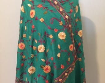 Stole/Shawl/Wrap/Kashmiri Floral Embroidery/Wool and Silk Blend/ Emerald Green
