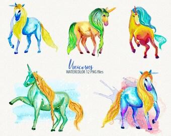 unicorn watercolor unicorn clipart watercolor fantasy clipart