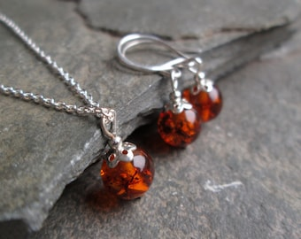 Amber Necklace and Earrings Set - Amber Necklace, Amber Pendant, Amber Earrings, Amber Jewellery, Amber Jewelry, Amber Necklace Silver