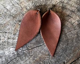 Leather Earrings, Bridesmaid Earrings, Leather Leaf Earrings, Wedding, Western Wedding Earrings, You Choose Color