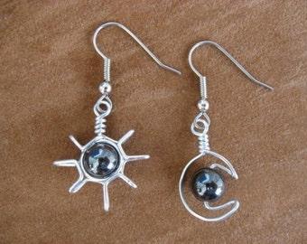 HÉMATITE SUN boucles d'oreilles lune fil enroulé