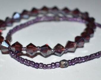 Simple Elegance Purple Crystal bracelet set