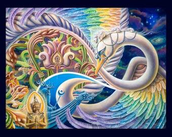 "Prints on Paper - ""Once I Meta Swan"" by Ishka Lha"