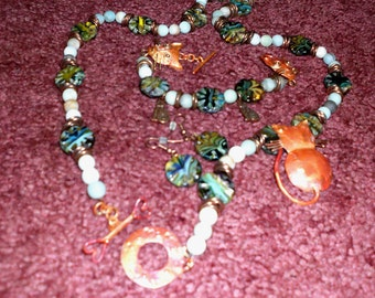 Gemstone and lampwork beads set