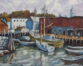 Seascape Dock Scene  Original Painting by Prankearts