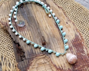 Crocheted Necklace with Shell / Seafoam Green Crochet Necklace / Beach Cone Shell Necklace / Handcrafted Hawaii Jewelry / Mermaid Lover