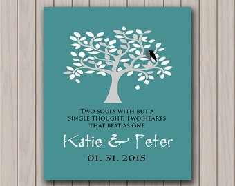 First 1st  Anniversary Paper Gift, Personalized Gift for Newlyweds, Engagement Gift, Gift for Couples Any Color Available