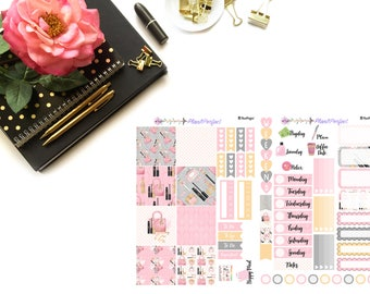 Makeup Sticker Kit// MINI HP Weekly Kit// 2 sheets of planner stickers