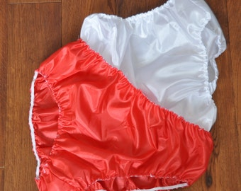 DOUBLE red and white layered panties inside panties, satin silkies,  Sissy Lingerie