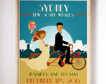 Tandem Bike Wedding Poster Personalized Wedding Gift Engagement Gift Wedding Print Newlywed Gift Romantic Gift Tandem Bicycle Wedding Art