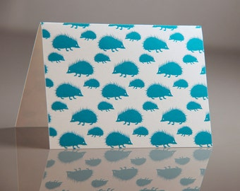 Teal Hedgehog Note Set - Digitally Printed Cards - Pack of 6 Hedgehog Note Cards - Hedgehog Patterned Cards - Small Flat Printed Notes