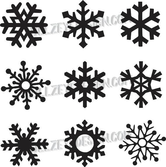 9 unique snowflakes vector snowflakes eps snowflakes svg rh etsy com vector snowflakes free download vector snowflake patterns