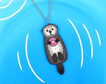 Sea Otter with Donut Necklace - Cute Otter Holding Doughnut