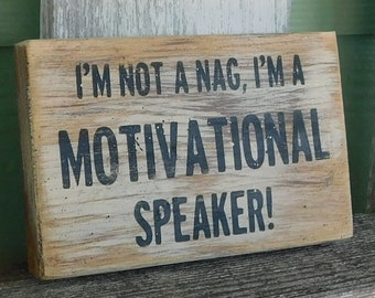 I'm Not A Nag I'm A Motivational Speaker sign