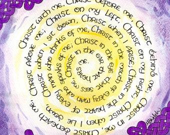 St Patrick's Breastplate, Lorica Prayer Panel 6 of 6, Contemporary Catholic art, Irish, Celtic Knot, Celtic Knots, Saint, 5x7 8x10 Art Print