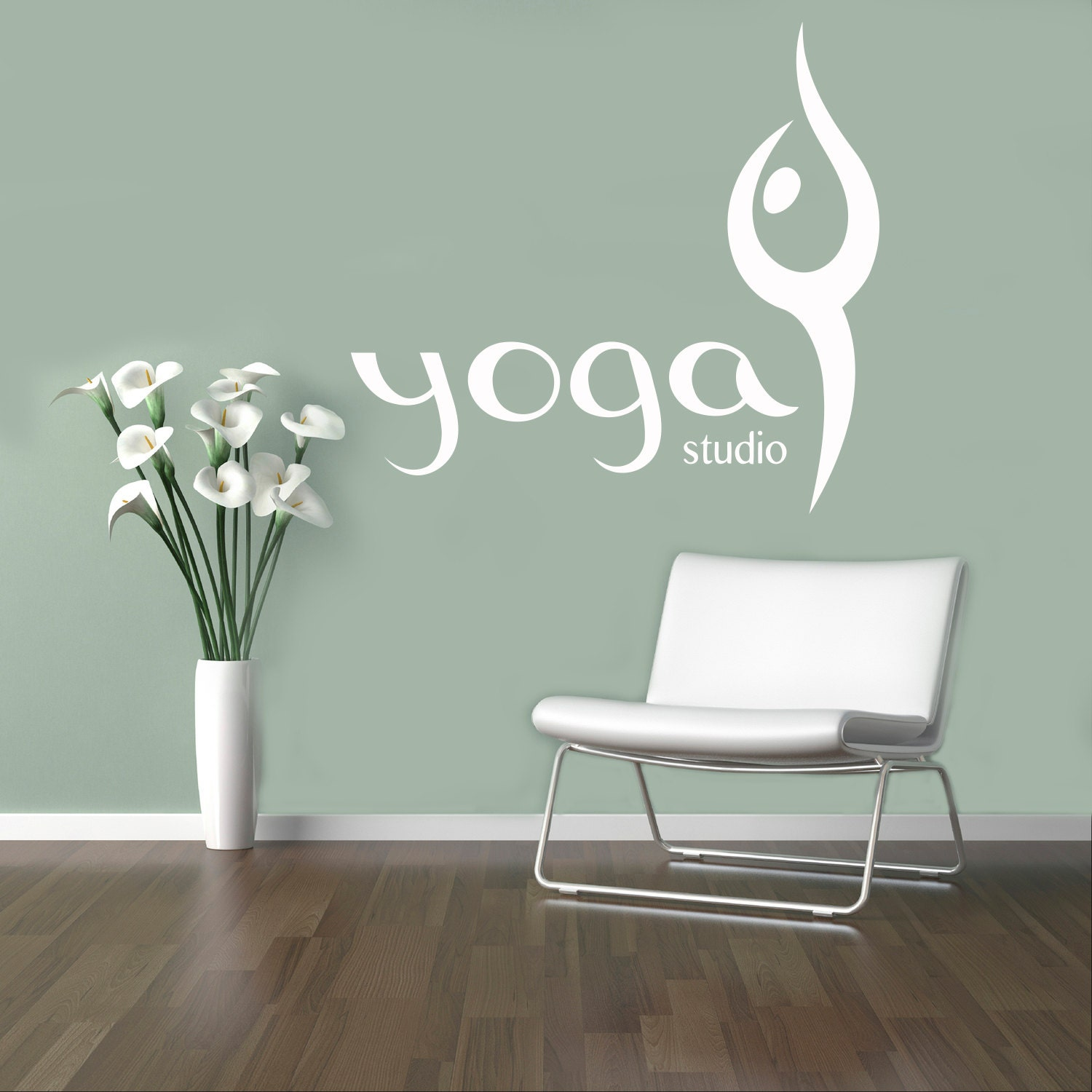 Yoga studio pared vinilo calcoman a yoga s mbolo pared for Yoga studio salon de provence