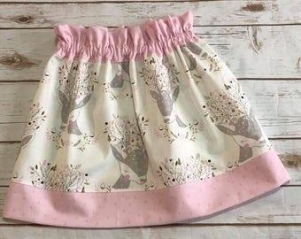 Girls Oh Deer Skirt - Spring Summer Skirt - 100% Cotton Skirt -  3T up to 7/8 - Pink Skirt