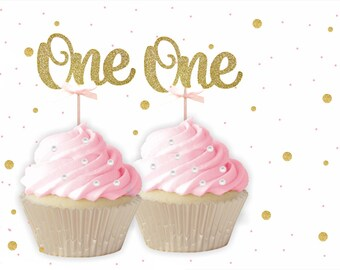 ONE Cupcake Toppers  - 1st Birthday, Birthday Cupcake Topper, gold birthday cake topper, custom number cupcake toppers