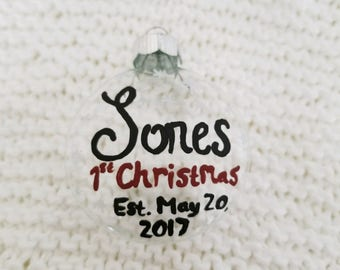 Hand Painted Personalized First Christmas Glass Ornament