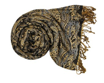 Black Pashmina Ultra Smooth Cashmere Feel Soft Shawl Style Wrap IN11