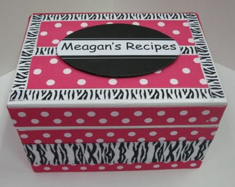 Recipe Box -Color and Zebra Pattern without knob