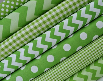 Green Fabric Bundle of Chevron, Dots, Gingham from Riley Blake Designs - Perfect for Christmas. 100% cotton - Select Your Length