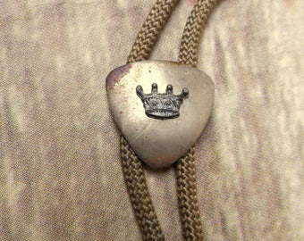 Crown Bolo Tie Necklace Distressed Silver Country Western Cowboy Jewelry Vintage