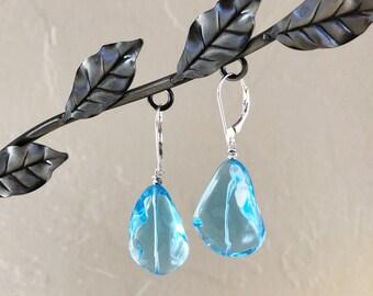 Swiss Blue Topaz and Sterling Silver Drop Earrings