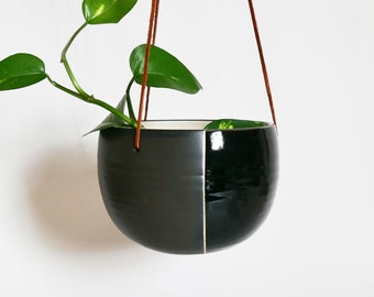 Hanging Ceramic Planter; Succulent planter; Garden Pot; Gold Planter; Handmade Pottery