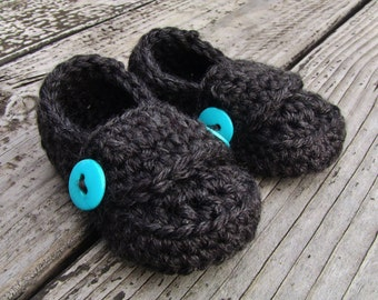 Crochet Infant Button Loafers Baby Booties Shoes