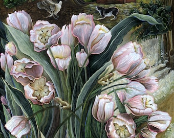 Pink Tulips with Peepers and Canada Goose Attack Original Acrylic Painting