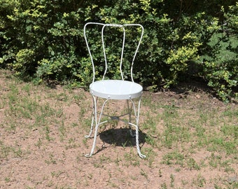 Vintage White Ice Cream Parlor Chair Twisted Metal Bistro Chair Chippy Paint Cottage Decor PanchosPorch