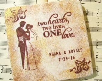 Personalized Wedding Gift - African American Silhouette Bride & Groom, Wedding Gift Coaster Set of 4, Wedding Registry, Wedding Shower Gift