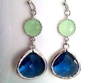 Sapphire Blue Silver Drop Earrings, Dangle, Glass Earrings, bridesmaid gifts,Wedding jewelry, gift, Mint green earrings, navy earrings