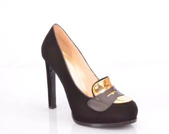 ateliermc.de no. 30110 FERDE Platform Pumps Velor black gold Wedding Party Office Dancing