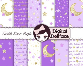 "Purple and Gold Digital Paper, ""Twinkle Twinkle Little Star,"" First Birthday Printable, Decorations, Party"