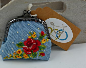 Embroidered Denim Change Purse (Cross Stitch Rose, Paisley Lining)