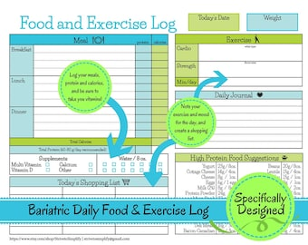 Bariatric Surgery Daily Food Exercise Tracker | Weigh Loss Journal, diet log, weight loss diary, nutrition list, exercise tracker, journal