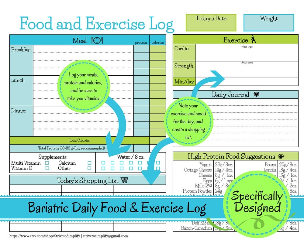 bariatric surgery daily food exercise tracker weigh loss