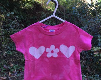 Pink Toddler Shirt, Batik Toddler Shirt, Toddler Girls Shirt, Pink Heart Shirt, Flower Girl Gift, Flower Girl Shirt  (18 months)