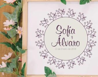 Floral Custom Wedding Monogram Design, Floral Wedding Logo, Wedding Branding, Branding Brand, Logo Branding Design, Personal Monogram
