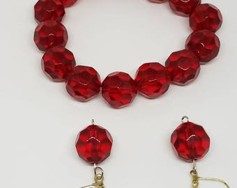 Red Bracelet and Earring Set