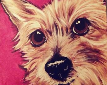 Custom Pet Portrait Painting 8x8 dog cat , pet memorial, gift idea, pet loss, best friend, personalized
