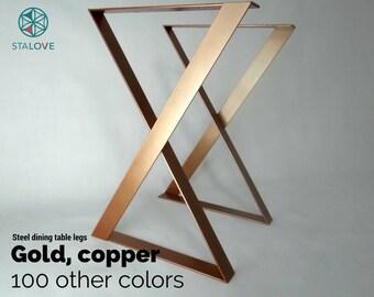 "Copper color table legs! 28""x20"" steel table base for dining table. Flat X-shape table legs. Office desk legs. Handmade by StaloveStudio"