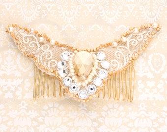 Bridal Nottingham Lace hair comb accessory